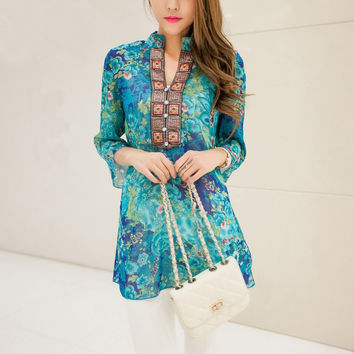 Blouse bohemian indian tops summer  embroidery long shirt blouse dress ladies shirts