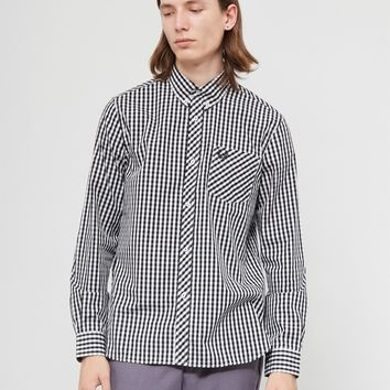 Fred Perry Made In England Long Sleeve Gingham Shirt Black & White