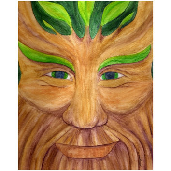 Green Man - Canvas Mini of Pagan God Watercolor Pencil Fine Art