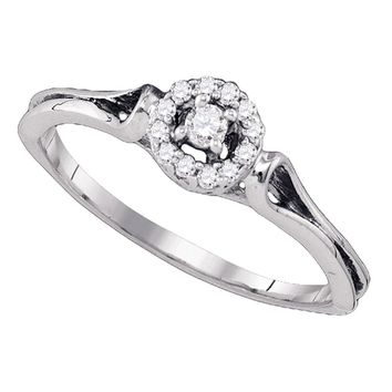 10kt White Gold Womens Round Diamond Solitaire Bridal Wedding Engagement Ring 1/10 Cttw