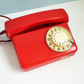 Vintage Red Phone Dial Rotary Telephone White Dial