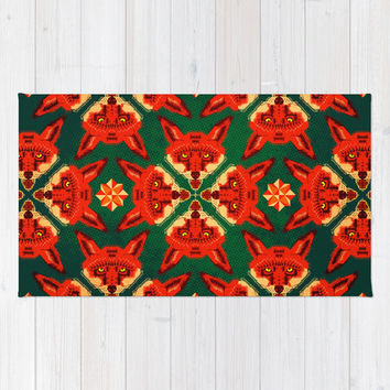 Fox Cross geometric pattern Area & Throw Rug by chobopop | Society6