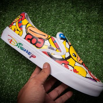 hcxx Vans & Dunk Yellow Duck Logo Slip On Flats Shoes Sneakers Sport Shoes