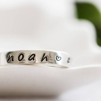 Ring With Kids Name, Silver Name Ring For Mom, Personalized Ring For Women