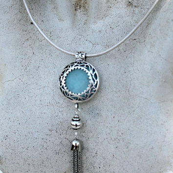 Bohemian Leather Tassel Necklace - Silver, Jade Gemstone, Sky Blue, White