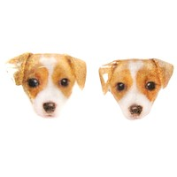 Realistic Jack Russell Terrier Puppy Face Shaped Animal Resin Stud Earrings