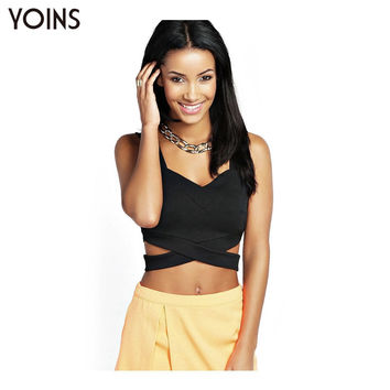 YOINS 2016 New Women Sexy Black Strappy Club Bralet Sleeveless Slim Fitting Crop Tops Vest Tank Tops Blouse