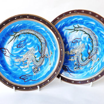 A Pair of Plates Blue Moriage Dragonware, Satsuma, Japanese, Made in Japan, Oriental Dragon, Asian Interior Decor