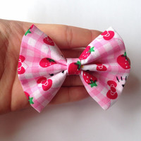 Pink Strawberry Hello Kitty Fabric Hair Bow on Alligator Clip - 3.5 Inch Wide