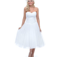 UV Exclusive Bridal Collection White Polka Dot Sweet as Pie Strapless Chiffon Swing Dress