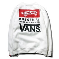VANS Classic Popular Unisex Casual Print Long Sleeve Round Collar Velvet Hip Hop Sweater Top Sweatshirt White