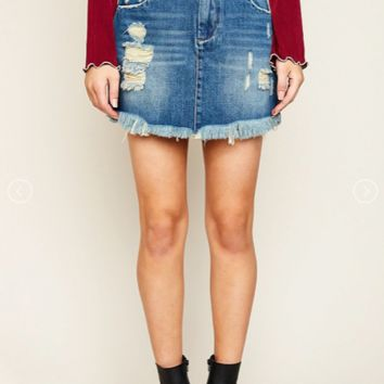 Minnie :: Ruffled, High-Waist Denim Skirt