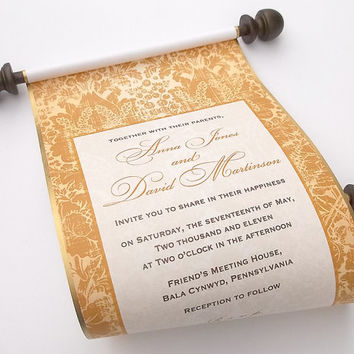 Gold wedding invitations, elegant invitation scroll, handmade wedding invitation, scroll wedding invitation, 25