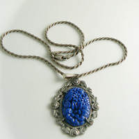Sterling Marcasite Molded Lapis Glass Necklace