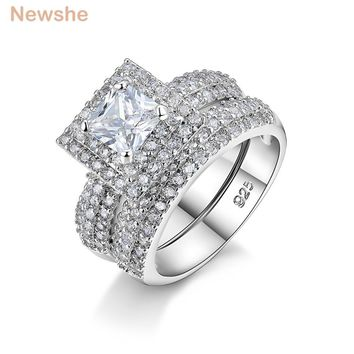Newshe 2 Pcs Wedding Ring Set 2 Ct Princess Cut CZ Solid 925 Sterling Silver Engagement Band Stunning Classic Jewelry For Women