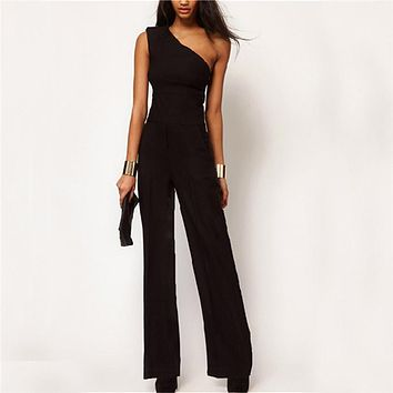 Womens One Shoulder Jumpsuit Rompers 2017 Black Elegant Sexy Ladies Sleeveless Long Pants Playsuits Female Casual Loose Overalls