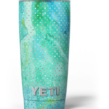 Green and Gold Watercolor Polka Dots Yeti Rambler Skin Kit