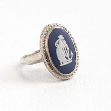 Vintage Wedgwood Sterling Silver Cameo Ring - Size 5 Blue Jasperware London England 1974 Jewelry