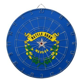 Dartboard with Flag of Nevada, USA
