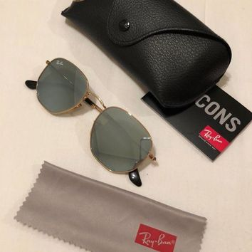 Gotopfashion rayban hexagonal sunglasses silver mirror lenses