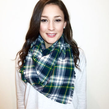 St. Patricks Day Plaid Scarf, Navy Blue, Green, with Yellow Plaid Scarf | tartan plaid blanket scarf | winter long scarf | inspired by zara