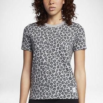 the converse essentials leopard print women s crew t shirt