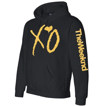 XO The Weeknd Crewneck  sweatshirt  Hooded sweater Hoodie gold logo with sleeves