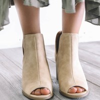 Guide Me Beige Open Toe Heels
