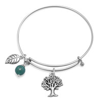 Treetop  – Expandable silver-tone bangle tree charm sterling silver bracelet with aqua agate bead