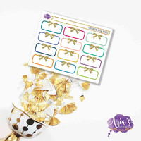 Functional Colorful/Neutral Blank Half Box Labels with Gold Glitter Bows - 1 Sheet, 12 Stickers - Perfect for use in ANY Planner!