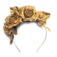 Crown and Glory Hair Accessories — Sophie Glitter Rose Headband - Gold