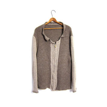 Slouchy Long Knit Wool Cardigan Sweater Handwoven Button Up Cable Knit Zip Up Sweater Coat Womens Extra  Large XL