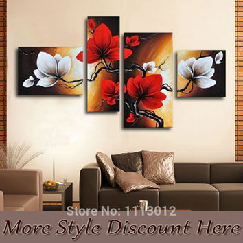 Hand Painted 4 Panel Modern Classical Red White Wall Art Canvas Flower Oil Painting Home Decoration Picture For Living Room Sale