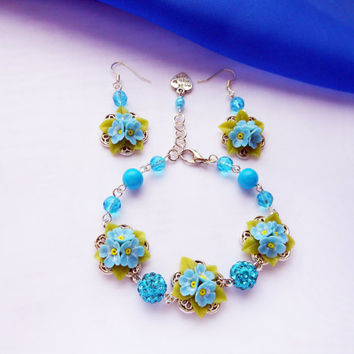 Free shipping Beaded Bracelet & Dangle Earrings with flowers Forget-me-nots handmade of polymer clay Blue jewelry set with small blue flower