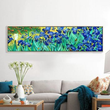 Van Gogh painting,Flower blue green Oil Painting,heavy texture,Iris,Wall Art for living Room Home Decor Hand Painted large oil painting