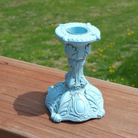 Vintage Candlestick Candle Holder Painted Blue Ocean Breeze and Antiqued Metal