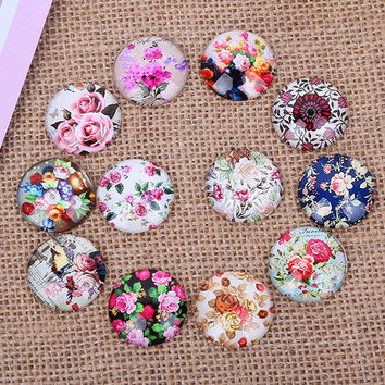 24X   12mm Rural flowers restoring ancient ways Round  Handmade Photo Glass Cabochons & Glass Dome Cover Pendant Cameo Settings