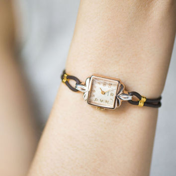 Cocktail watch for lady, retro women's watch Dawn, gold shade watch rectangular, rhombus pattern watch her, adjustable leather strap new