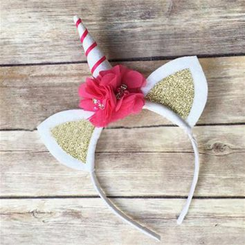 Unicorn Horn Headband with Glitter Ears and Flower Accents with Red Stripe