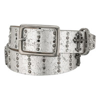 Silver Cross And Rhinestone Embellished Belt - Gray