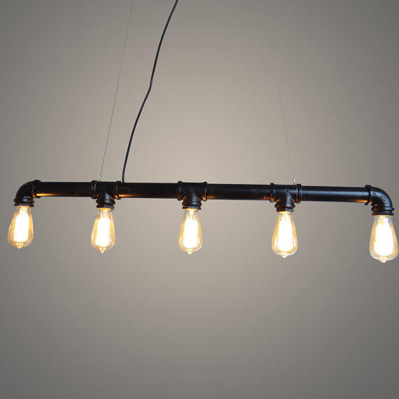 Diy Industrial Bathroom Lighting: 5 Heads Edison Bulb Water Pipe Ceiling From LightwithShade On