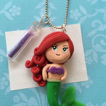 Polymer clay Ariel charm, mermaid charm, polymer clay mermaid, Ariel charm