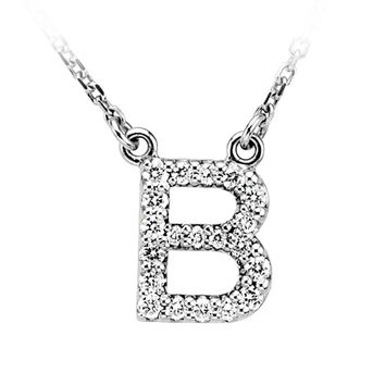 1/6 Cttw Diamond & 14k White Gold Block Initial Necklace, Letter B