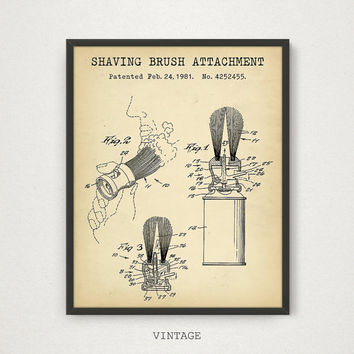 Shaving Brush Patent Printable, Barber Shop Decor, Bathroom Decor, Barber Shaving Brush Art Print, Barber Gift, Barber Poster Download