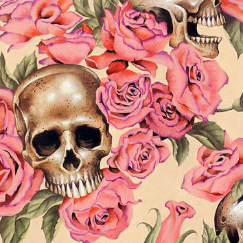 1m Resting in Roses Tea - Alexander Henry Fabric PER METRE Skulls Romance Hallow