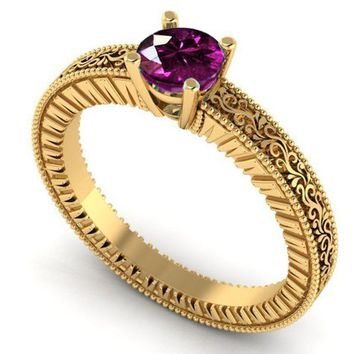 Solitaire Filigree Amethyst Ring Unique Purple Amethyst Engagement Ring  Milgrain Ring 18K Yellow Gold Christmas Ring