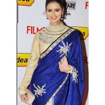 Cream & Royal Blue Velvet/Net Saree