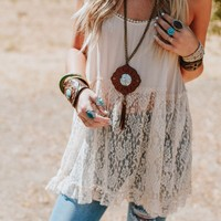 Caught Your Eye Lace Slip Tunic - Natural