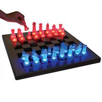 LED Glow Chess Set Blue / Red by Lumisource
