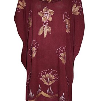 Womens Kaftan Dress Maroon Floral Embroidered Kimono Rayon Beach Cover up: Amazon.ca: Clothing & Accessories